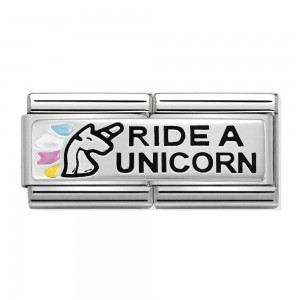 "Podwójny link element ""Ride a unicorn"" Srebro Silver 925"