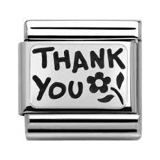 "Napis ""Thank You"" Srebro Silver 925"